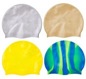 Set of different caps for swimming from rubber or silicone, royalty free stock photo