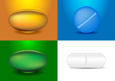 Set of different capsules and medicines Stock Photo