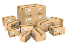 Set of different cardboard boxes Royalty Free Stock Photography