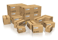 Set of different cardboard boxes Royalty Free Stock Images