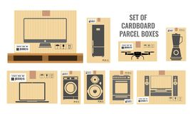 Set of different cardboard boxes with different real sizes and of various household and utensil equipments. Flat vector. Set of different cardboard boxes with vector illustration