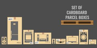 Set of different cardboard boxes with different real sizes and of various household and utensil equipments. Flat vector. Set of different cardboard boxes with royalty free illustration