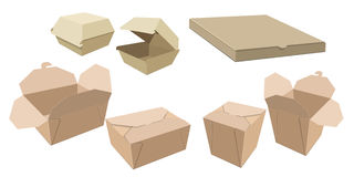 Set of different cardboard packaging for fast food. stock illustration