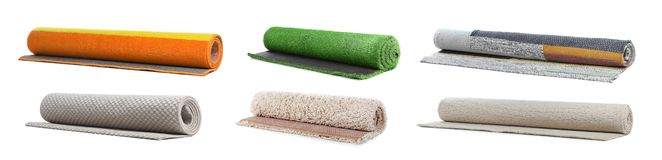Set with different carpets. On white background stock photos