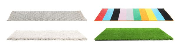Set with different carpets. On white background stock photo