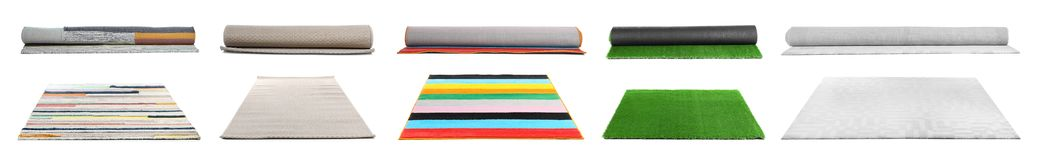 Set with different carpets. On white background stock photography