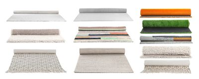 Set with different carpets. On white background royalty free stock image