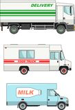 Set of different cars: food truck, delivery and Royalty Free Stock Photos