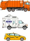 Set of different cars: garbage truck, taxi car and Royalty Free Stock Photos