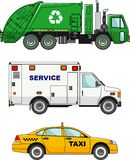 Set of different cars: garbage truck, taxi car and Stock Images