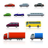 Set of different cars with reflection. On white background Stock Photography