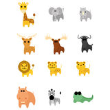 Set Of Different Cartoon Adorable Animals Isolated Royalty Free Stock Images