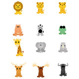 Set Of Different Cartoon Adorable Animals Isolated Royalty Free Stock Photos