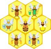 Cartoon bee social castes. Set of different cartoon bee social castes stock illustration