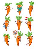 Set of different cartoon carrots stock photography