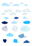 Set of different cartoon clouds Stock Photography