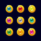 Set of different cartoon coins with colorful gemstones. Icons coins for the game interface. Set of different cartoon coins with colorful gemstones inside for web Stock Photography
