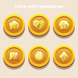 Set of different cartoon coins with gemstones inside, for web game or application interface Stock Images