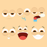 Set Of Different Cartoon Faces Isolated Royalty Free Stock Images