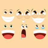 Set Of Different Cartoon Faces Isolated Stock Photos
