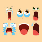 Set Of Different Cartoon Faces Isolated Royalty Free Stock Photography