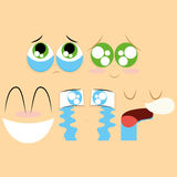 Set Of Different Cartoon Faces Isolated Royalty Free Stock Photos