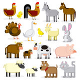 Set Of Different Cartoon Farm Animals Isolated Royalty Free Stock Photos