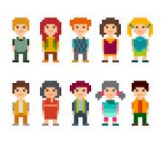 Set of different cartoon pixel art 8-bit people characters. Colorful set of pixel art style characters. Men and women standing on white background. Vector Stock Photos