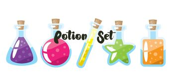 Set of different cartoon potion bottles. Simple illustration. White isolated. Royalty Free Stock Photography