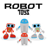 Set Of Different Cartoon Robots Isolated Royalty Free Stock Photo