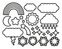 Set Of Different Cartoon Sky Icons Isolated Stock Image