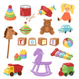 Set of different cartoon vector kids toys collection isolated on white background playfull children stuff Royalty Free Stock Photo