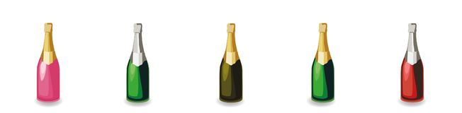 Set of different champagne bottles. royalty free illustration