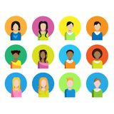 A set of different icon of the people of different race. On a white background. Vector illustration. Royalty Free Stock Photography