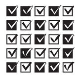 Set of different check marks in boxes Royalty Free Stock Photography