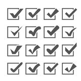 Set of different  check marks or ticks in boxes Royalty Free Stock Images