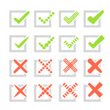 Set of different  check marks or ticks and crosses Royalty Free Stock Images