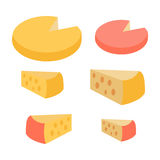 Set of Different Cheese Types. Varieties of Pieces. Set of different types of cheese. Varieties of cheese pieces on white background. Natural food. Dairy product Royalty Free Stock Image