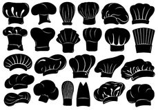 Set of different chef hats isolated Stock Photos