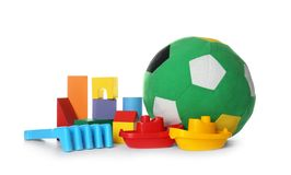 Set of different child toys on white. Background stock photo
