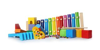 Set of different child toys. On white background stock image