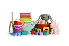 Set of different child toys. On white background royalty free stock photography