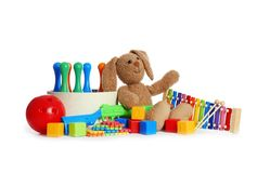 Set of different child toys on white. Background royalty free stock photos