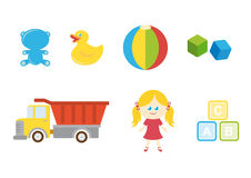 Set of different children's toys on a white background Royalty Free Stock Images