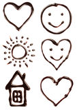 Set of different chocolate syrup symbols Stock Photography