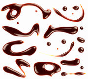 Set of different chocolate syrup symbols. Royalty Free Stock Photos