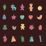 Set of different Christmas decorations. Simple colors. Royalty Free Stock Photography