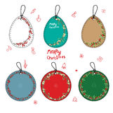 Set with different Christmas labels. On white Royalty Free Stock Images