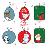 Set with different Christmas labels. On white Stock Photo