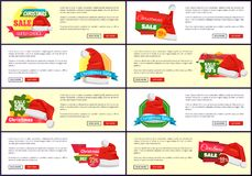 Set of Different Christmas Sale Promo Posters. Set of different colorful Christmas sale promo posters vector illustration with lot of pleasing Santa s hats, text Royalty Free Stock Photos